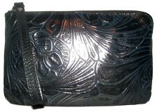 PATRICIA NASH Tobacco Navy/Pewter Floral Leather Zip Clutch Wristlet NWT
