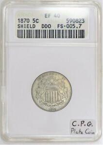 1870 Shield Nickel ANACS EF-40; DDO FS-005.7 (New FS-101); C.P.G. Plate Coin