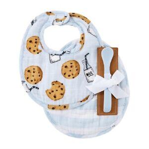 Mud Pie E1 Baby Blue Milk Muslin Feeding Bibs & Silicone Spoon 10280142