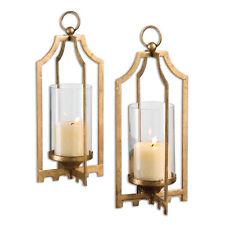 Modern Gold Arabesque Candle Lantern Pair Set | Pillar Holder Open Hurricane