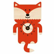 Adorable Fox Wall Art Wooden Wall Clock With Tail Pendulum Woodland Wall Watch