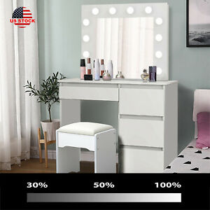 for Women//Girl Cabinet Cushioned Stool LVSOMT Vanity Desk Set with Makeup Lighted Mirror /& Chair 3 Color Lighting /& Dimmable Mirror Bedroom Dressing Table w// 4 Drawers White