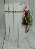 Rae Dunn by Magenta White Deck The Halls Holiday Christmas Wood Book Stack NEW