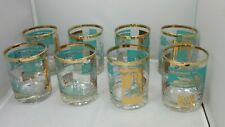 Vtg Mid Century Lot 8 Teal Gold Steamboat Paddle Boat Low Ball Glasses Mad Men