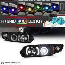 [3200 Lumen RGB Bulbs] 06-11 Honda Civic Coupe FG Black Halo Angel Eye Head Lamp