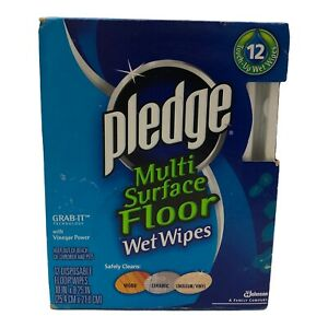 Pledge Grab It Multi Surface Floor Wet Wipes Box of 12 Discontinued New Sealed