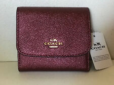 NEW! COACH METALLIC CROSSGRAIN SMALL WALLET IN METALLIC CHERRY RED $135 SALE
