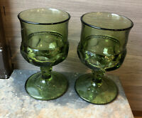 Lot of 2 Vintage Indiana Green Glass Kings Crown Thumbprint Cordial Glasses