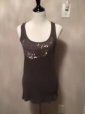 Pre-owned ZARA COLLECTION Gray Ribbed Tank Top Nailhead Assymetrical Design SZ M