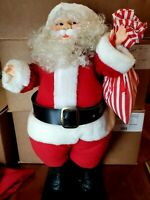 Vintage HTF Santa Animated 1960s Motion Figure Red Stripe Toy Bag Taiwan 22""