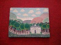 Tableau art naïf sur panneau de bois paysage avec villa et forêt