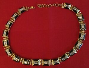 Monet Gold Coloured Crystal Enamel Heavy Choker Necklace