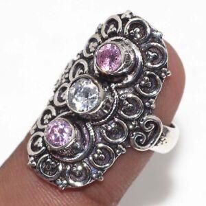 Crystal Topaz Pink Kunzite Ethnic Handmade Ring US Size-7.5 JW