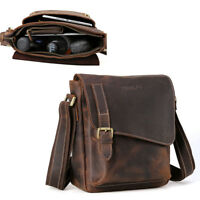 Vintage Leather Men Shoulder Messenger Sling IPAD Bag Crossbody Business Satchel
