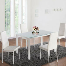 WHITE GLASS TABLETOP DINNING TABLE AND 4 HIGH BACK PADDED CHAIRS SET METAL LEGS