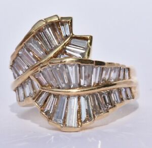 Baguette Diamond Leaf Ring 18k 1.50 carats