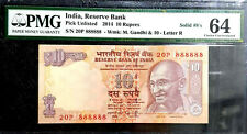 """PMG Gem EPQ 64 Graded India 10 Rupees""""Solid No88888 Note""""(+FREE 1 B/note) #D6521"""