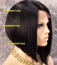 "15"" Straight Short Bob Dark Brown Full Lace Front Wig Heat Ok Hair Piece #2 NWT"