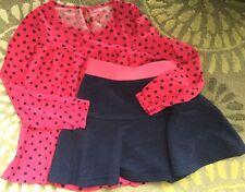 Lot Cat & Jack Size Medium M 7 8 7-8 Pink Heart Navy Skirt Polka Dot Top Shirt