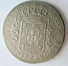 1818 BRAZIL 960 REIS - High Grade - Very Rare Silver Crown Coin - High Value N22
