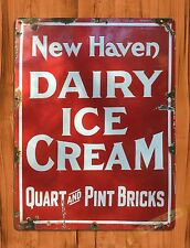 """TIN-UPS TIN SIGN """"New Haven Dairy"""" Ice Cream Advertising Rustic Wall Decor"""