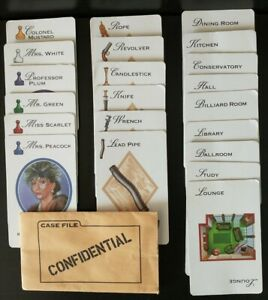 1997 Clue Board Game Cards Complete Set Replacement & Confidential Envelope