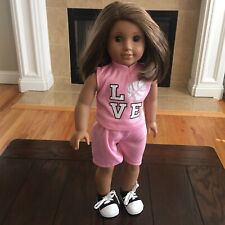 American Girl Doll Brown Short Hair Brown Eyes & Pink Basketball Outfit Shoes