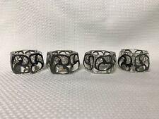Antique Silver Overlay Glass Open Salt Dip Cellars Hexagonal Set of 4