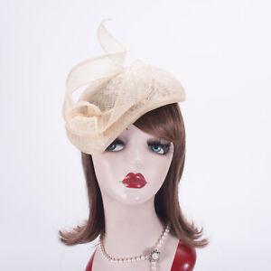 Teardrop Womens Sinamay Fascinator Hat Tam Beret Casque Cocktail Bridal T442
