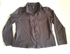 Eileen Fisher Womens Brown Zip Top Jacket Boxy Viscose Blend Long Sleeve Shirt L