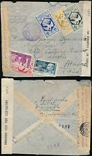 FRENCH CONGO 1945 to GREECE AIRMAIL EGYPT CENSOR AEF + LIBRE MULTI FRANKING