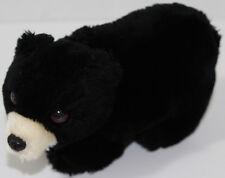 Vintage DAKIN FURRY BLACK TEDDY BEAR Stuffed Plush Animal SOFT TOY White Snout