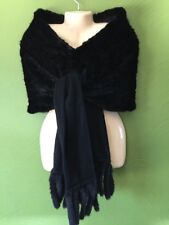 NWT New GORSKI Mink Fur Cashmere Black Cape Shaw Stole Newman Marcus