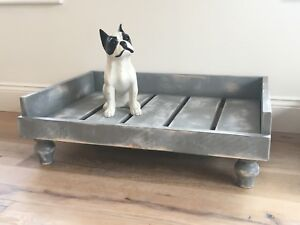 DOG BED / RAISED OFF FLOOR / ON FEET / SHABBY CHIC / PAINTED GREY / DISTRESSED