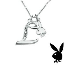 Playboy Necklace Bunny Pendant w Chain Silver Plated Swarovski Crystal Letter L