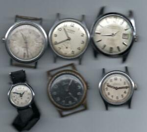 Six Vintage Watches Roamer Medana Holcanstar Basis for parts or repair