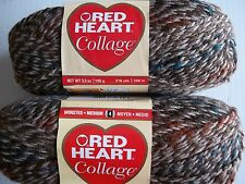 Red Heart Collage variegated twist yarn, Wood Trail, lot of 2 (218 yds ea)
