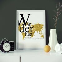 Wanderlust Print Poster Three Sizes Art Travel Typography NEW 2020 Exclusive