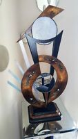 Contemporary Modern Table Sculpture, Brown Silver Table Sculpture by Art69