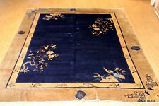ANTIQUE 8' X 9'  ART DECO Chinese PEKING hand-knotted Garden design pictorial