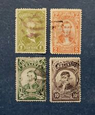 Bolivia Stamps, Scott 47-50 Used and Hinged with faults.