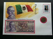 Mexico Venustiano Carranza 1995 Flag Fdc (banknote coin cover) *3 in 1 *rare