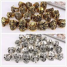 Wholesale Mixed Skull Gold/Silver Men's Rings Jewelry Big Biker Punk Finger Ring