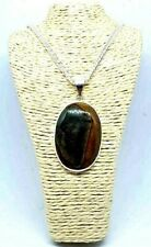 "Natural Plum Root Fossil Agate Pendant Necklace Silver Plated 18"" Chain New~"
