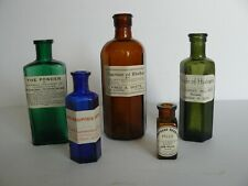 5 Different Vintage Coloured Glass Apothecary Bottles (G3)