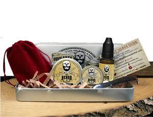 Premium Grooming Gift Box Set, Moustache Wax,Beard Balm,Beard Oil,Comb & Case