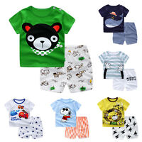 2pcs Toddler Infant Baby Boy Summer T-shirt Tops+Shorts Pants Outfit Clothes Set