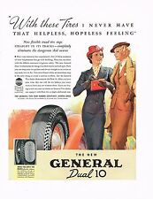 1930s BIG Original Vintage General Tire Womens Clothing Fashion Art Print Ad