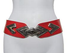 VINTAGE 80's Red Faux Leather Boho Deco Silver Wonder Buckle Adjustable Belt OS