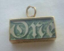 BELLA vecchia vintage in oro 9 carati emergenza autentico una sterlina CIONDOLO nota o CIONDOLO